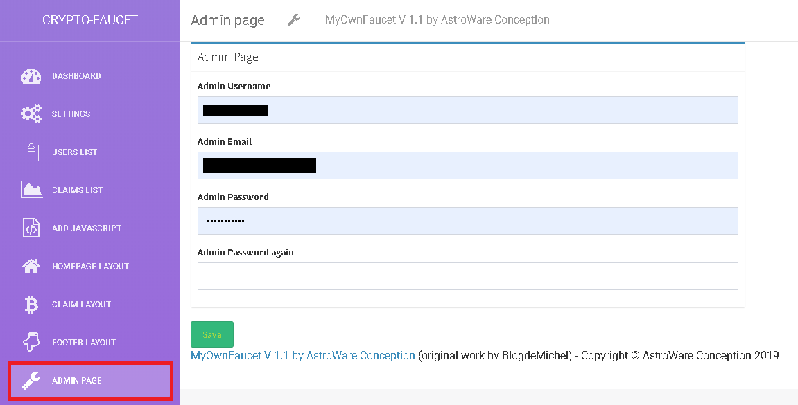 Admin page MyOwnFaucet la solution de gestion de faucet